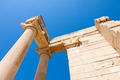 KOURION, CYPRUS/GREECE - 7月24日:阿波罗教堂在Kourion附近的 免版税库存图片