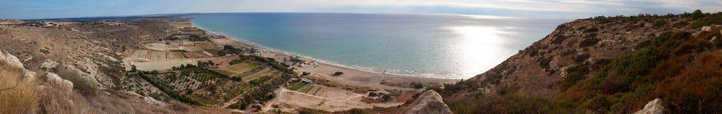 Kourion coast, panorama. Panorama of Cyprus coastline. Kourion point of view Royalty Free Stock Photos