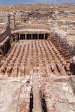 KOURION CYPRUS/GREECE - JULI 24: Rest på nollan för forntida stad royaltyfri fotografi