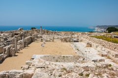 Kourion. Was an important ancient city-state on the southwestern coast of Cyprus. The acropolis of , located 1.3 km southwest of Episkopi and 13 km west of Royalty Free Stock Images