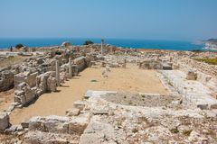 Kourion. Was an important ancient city-state on the southwestern coast of Cyprus. The acropolis of , located 1.3 km southwest of Episkopi and 13 km west of Royalty Free Stock Photos
