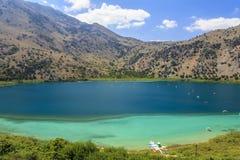 Kournas jezioro na Crete wyspie Grecja Obraz Stock