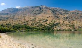 Kournas lake on Crete. Greece is the only freshwater lake on the island Royalty Free Stock Photos