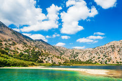 Kournas lake in Crete island, Greece. Royalty Free Stock Photography