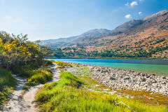 Kournas lake in Crete island, Greece Royalty Free Stock Photography