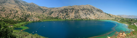 Kournas lake panorama Royalty Free Stock Photo