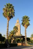 Koutoubia清真寺,马拉喀什市,摩洛哥的多数著名标志。 免版税图库摄影