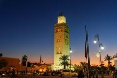 Koutoubia清真寺在马拉喀什在晚上 摩洛哥 免版税图库摄影