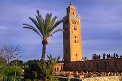 Koutoubia清真寺尖塔在马拉喀什摩洛哥 库存图片