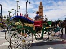 Koutoubia清真寺马拉喀什,摩洛哥是被参观的纪念碑 免版税库存照片