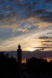The Koutoubia and Jemma el Fna square. Mosque in Marrakesh stock image