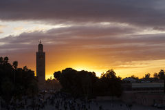 The Koutoubia and Jemma el Fna square. Mosque in Marrakesh royalty free stock image