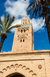Koutoubia minaret made from golden bricks in centrum of medina, M Royalty Free Stock Photos