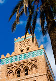 Koutoubia minaret made from golden bricks in centrum of medina Royalty Free Stock Photo