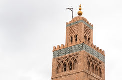Koutoubia minaret made from golden bricks in centrum of medina Royalty Free Stock Images