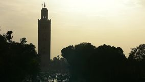 Koutoubia Minaret muslim tower with backlit stock video footage