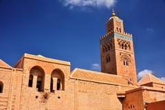Koutoubia moské i den sydvästliga medina fjärdedelen av Marrakesh Arkivfoto