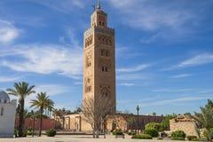 Koutoubia moské i Marrakech Marocko Arkivfoton