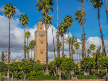 Koutoubia moské i Marrakesh Marocko Arkivfoto