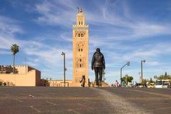 Koutoubia moské i medina marrakech Arkivbilder