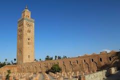 Koutoubia moské, mest berömdt symbol av den Marrakesh staden, Marocko. Arkivfoton