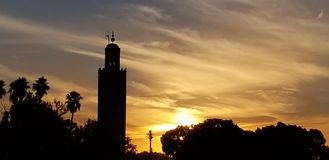 Sunset by Koutoubia Mosque Marrakech, Morocco is the most visited monument stock images