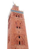 Koutoubia mosque in Marrakesh, Morocco. Mosque on white background (Koutoubia mosque in Marrakesh, Morocco Royalty Free Stock Photography