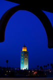 The Koutoubia Mosque, Marrakesh. The mosque Koutoubia Marrakesh at night with lights, Morrocco Royalty Free Stock Images
