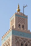 Koutoubia mosque minaret. Top of Koutoubia mosque minaret in Marrakech (Morocco). Koutoubia is the largest mosque in Marrakech Royalty Free Stock Photo