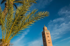 Koutoubia Mosque and palm at blue sky background Stock Image
