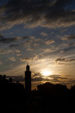 The Koutoubia Sillhouette and Jemma el Fna. Square mosque in Marrakesh stock image