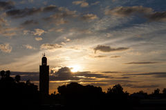 The Koutoubia Sillhouette and Jemma el Fna. Square mosque in Marrakesh royalty free stock photos