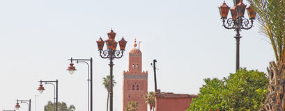 Koutubia mosque and palm trees. In marrakesh, Morocco Royalty Free Stock Photography