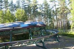 Kouvola Finland 1 Juli 2015 - rida Orient uttryckligt i rörelse i nöjesfältet Tykkimaki Arkivbild