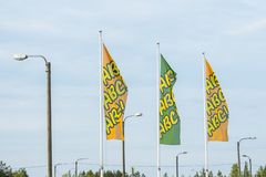 Kouvola, Finland - June 4, 2019: Flags with the logo of ABC. ABC is a brand of automobile fuels and petrol stations and. Restaurants present in Finland royalty free stock photo