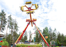 Kouvola, Finland 7 June 2016 - Ride Loop Fighter in motion in amusement park Tykkimaki Royalty Free Stock Photo