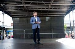 Kouvola Finland - 30 Maj 2016: Sauli Niinisto president av Finland besöker staden Kouvola på Maj 30, 2016 Arkivfoton