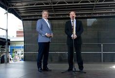 Kouvola, Finland - 30 Mei 2016: Sauli Niinisto, president van Finland bezoekt de stad Kouvola op 30 Mei, 2016 Op het stadium zijn Royalty-vrije Stock Foto