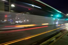 KOUVOLA, FINLAND - NOVEMBER 8, 2018: Long exposure photo. Night traffic on streets of Kouvola, Finland stock images