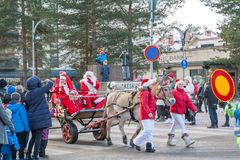 KOUVOLA, FINLAND - NOVEMBER 24, 2018: The traditional parade of Santa Claus at the opening of the Christmas holidays stock photos