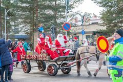 KOUVOLA, FINLAND - NOVEMBER 24, 2018: The traditional parade of Santa Claus at the opening of the Christmas holidays stock image