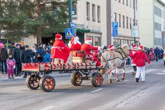 KOUVOLA, FINLAND - NOVEMBER 24, 2018: The traditional parade of Santa Claus at the opening of the Christmas holidays stock photo