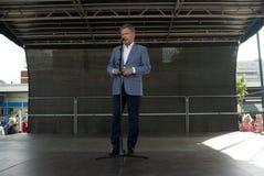 Kouvola, Finlandia - 30 2016 Maj: Sauli Niinisto, prezydent Finlandia odwiedza grodzkiego Kouvola na Maju 30, 2016 Obrazy Royalty Free