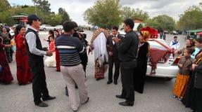 Kov-Ata,土库曼斯坦- 10月18 :土库曼的全国婚礼 图库摄影