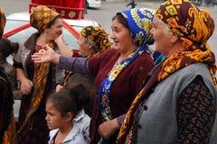 Kov-Ata,土库曼斯坦- 10月18 :未认出的亚裔妇女画象  免版税库存图片
