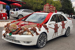 Kov-Ata, Turkmenistan - October 18: Wedding car decorated with T Royalty Free Stock Photo