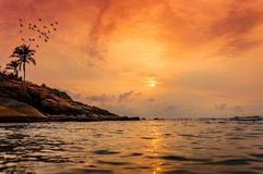 Kovalam beach, Kerala, South India. A beautiful sunset. Kovalam is a beach town by the Arabian Sea in Thiruvananthapuram, Kerala, India, located around 18 km stock photos