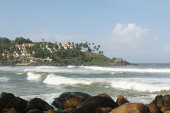 Beautiful beach. Kovalam beach, one of the most popular tourist spots in kerala, India stock images