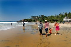 Kovalam Sea Beach of Kerala. December 11,2012 Kovalam,Thiruvananthapuram,Kerala,India,Asia-Tourists enjoying at the Kovalam sea beach of Kerala Stock Photo