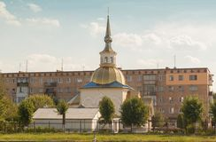 KOVEL, UKRAINE: Church of St. Sergius of Radonezh near the railw. KOVEL, UKRAINE - 5 JULY, 2018: Church of St. Sergius of Radonezh near the railway station in Stock Photos